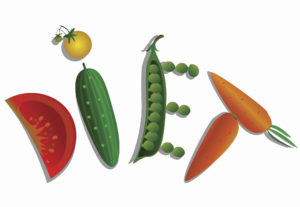 Vegetables The word diet on flat surface. white background
