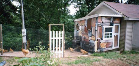 Ken Holland liked the looks of a coop from a past issue of Backyard Poultry but didn't want to spend the money on flagstone. Instead, he used foam board. He cut out stone shapes and painted them various colors to resemble stone. He warns that chickens love pecking the foam board, so he had to fence it off.