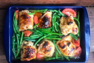 Roast Chicken with Green Beans, Tomatoes, and Olives